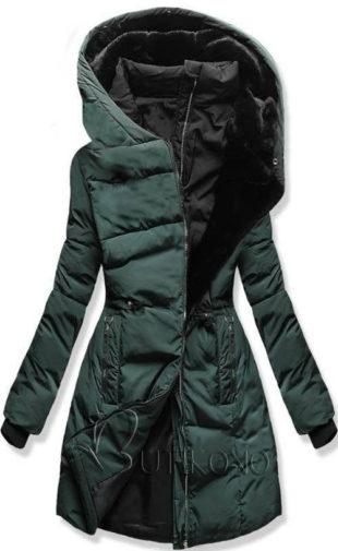 Metalově zelená prošívaná prodloužená dámská zimní bunda