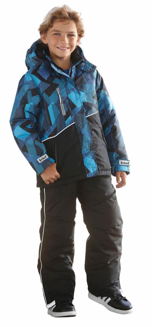 Modrá dětská zimní bunda s reflexními prvky