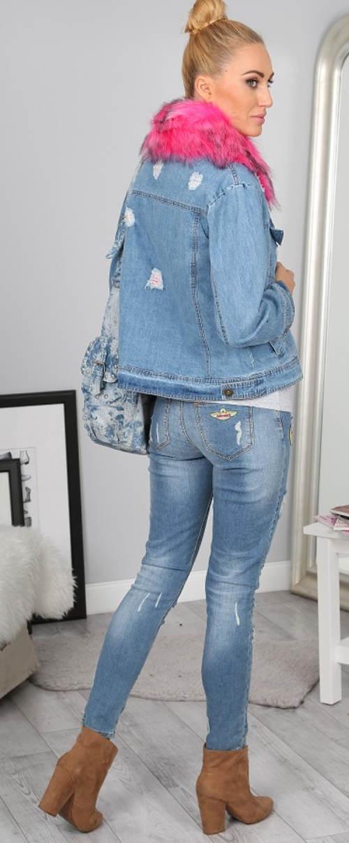 Modrá džínová zateplená buna s kožešinovým límcem