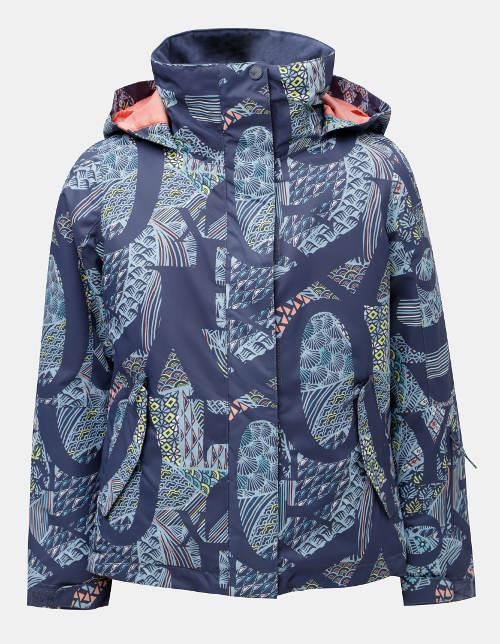 277cc4084 Modrá holčičí vzorovaná lyžařská voděodolná zimní bunda Roxy Jetty