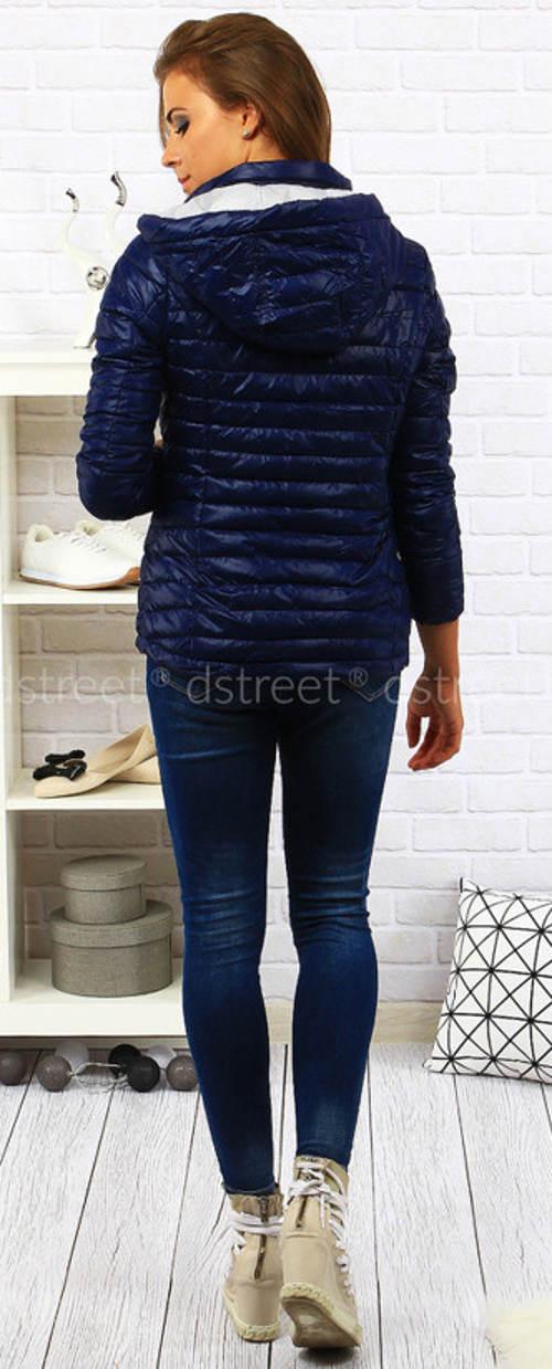 Modrá prošívaná dámská bunda do pasu