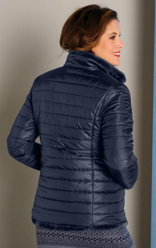 Modrá prošívaná oboustranná bunda