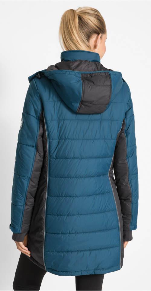 Modr-černý dámský outdoorový prošívaný kabát