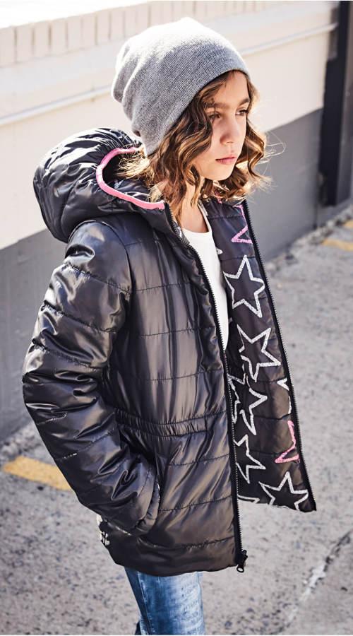 Oboustranná černá dětská zimní bunda
