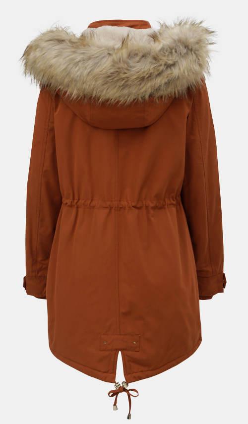 Oranžová dámská zimní bunda