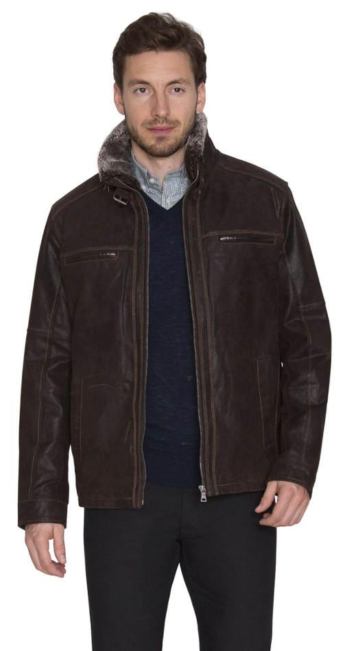 Pánská hnědá kožená bunda Kara z vepřovice