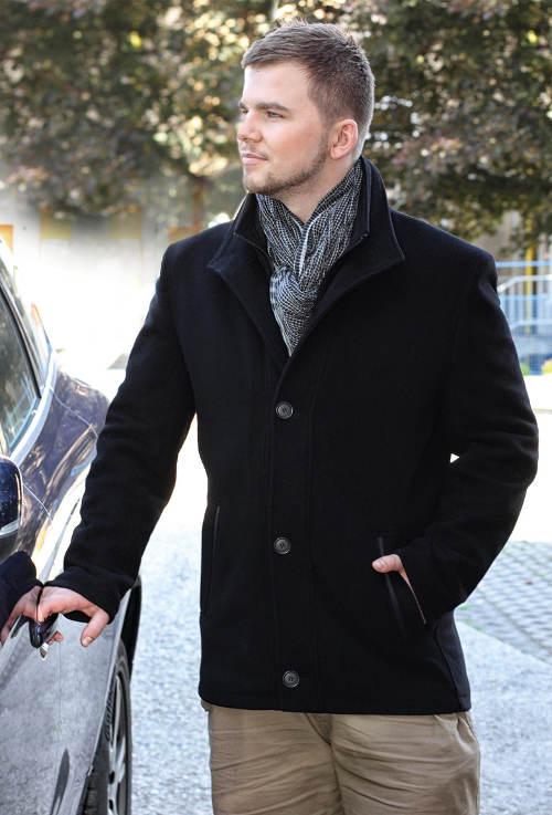 Pánský flaušový kabát s dvojitým stojáčkem