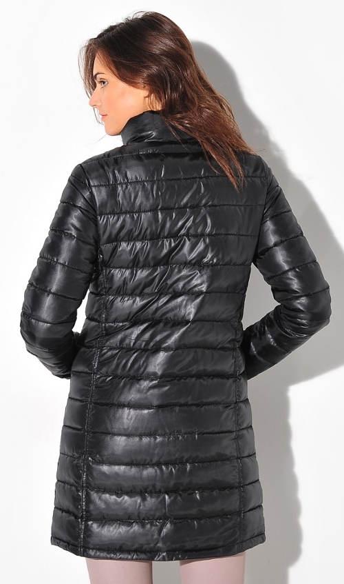 Prodloužená černá dámská prošívaná bunda