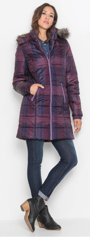 Prodloužená dámská kostkovaná prošívaná zimní bunda