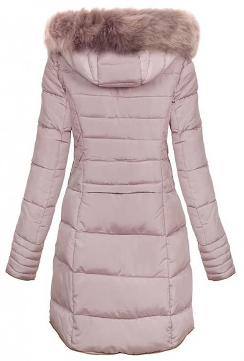 Prodloužená světle růžová dámská zimní bunda