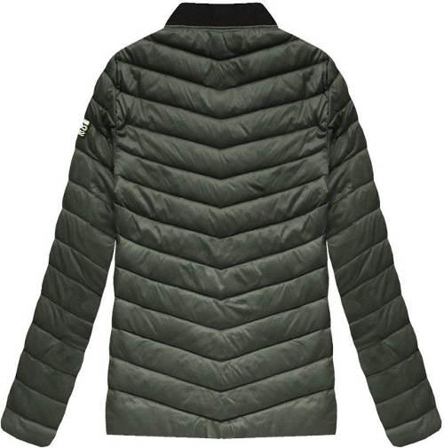 Prošívaná pánská khaki bunda se stojáčkem