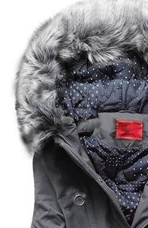 Šedá dámská zimní bunda s jemnoučkým kožíškem