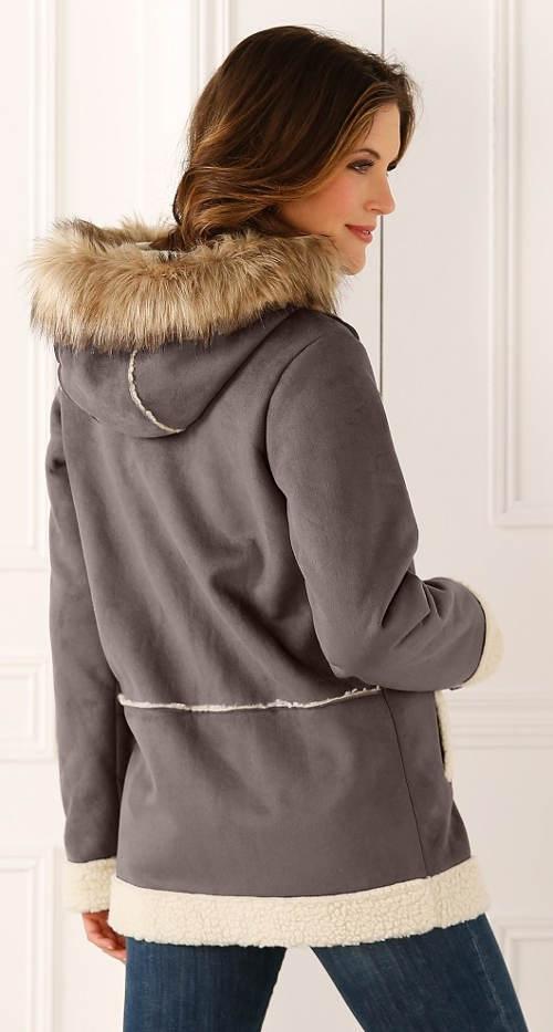 Šedo-hnědý zimní kabát vlněného vzhledu
