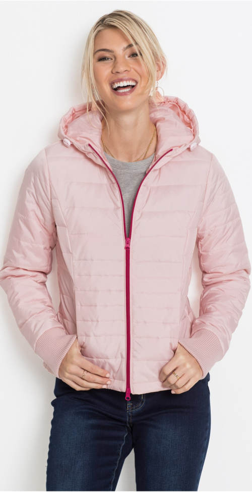 Světle růžová krátká zimní bunda