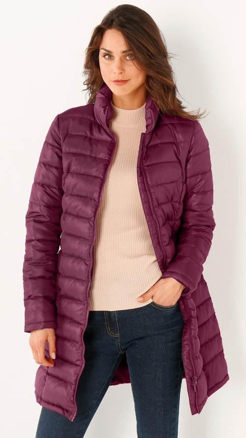 Výprodejová fialová dámská zimní bunda