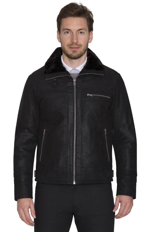 Zateplená kožená pánská bunda