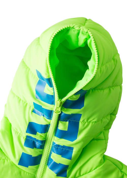 Zelená chlapecká zimní bunda s kapucí