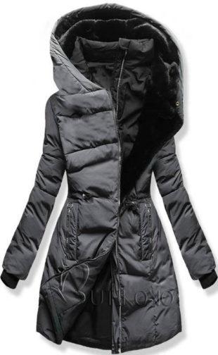 Zimní prošívaná prodloužená dámská grafitová bunda