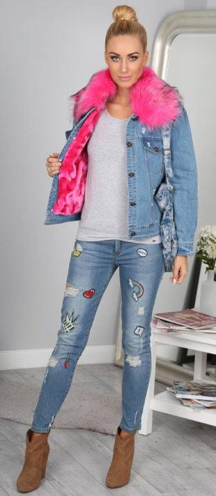 Zimní riflová bunda zeteplená růžovou kožešinou