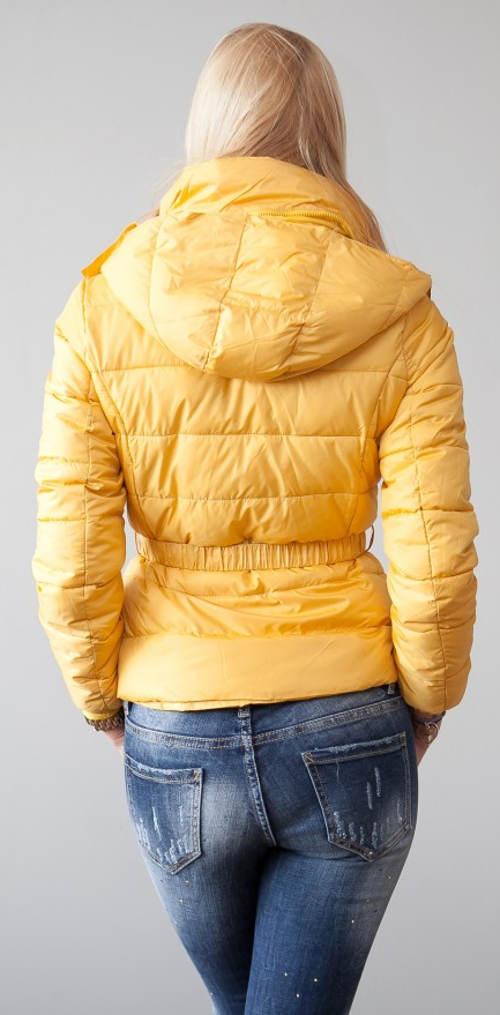 ŽLutá zimní bunda do pasu s kapucí