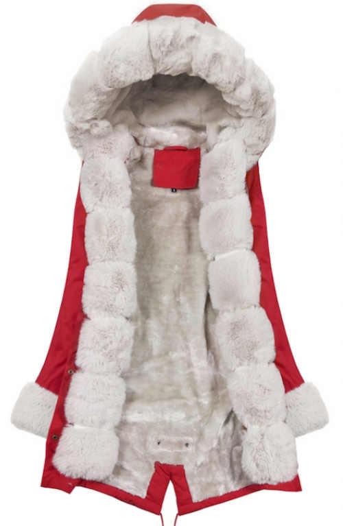 Červená zimní bunda s bílým hřejivým kožíškem