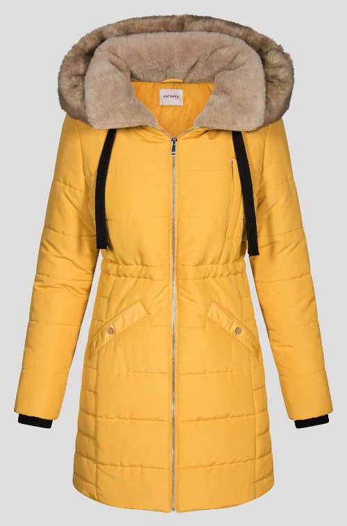 Dámský žlutý prošívaný zimní kabát