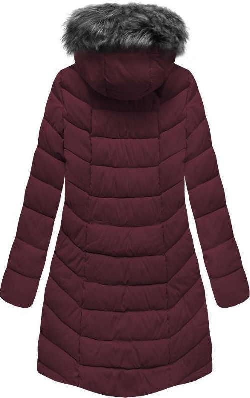 Dlouhá péřová zimní bunda s šedou kožešinou na kapuci