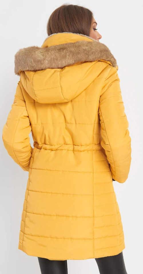 Dlouhá žlutá dámská zimní bunda
