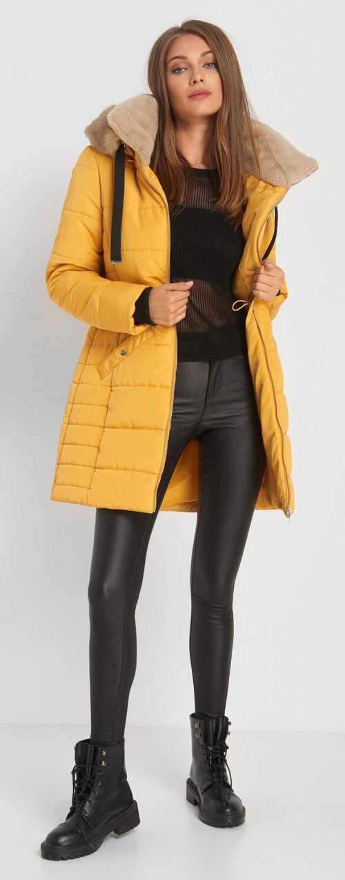 Moderní žlutá dámská zimní bunda Orsay