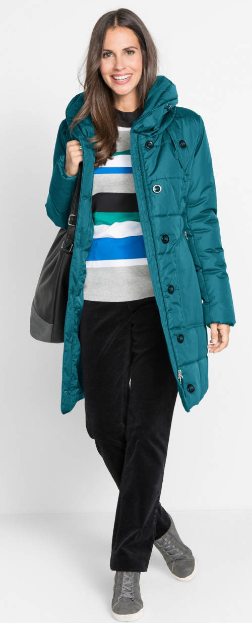 Azurový prošívaný zimní kabát