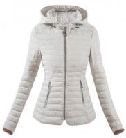 Bílá prošívaná dámská zimní bunda do pasu