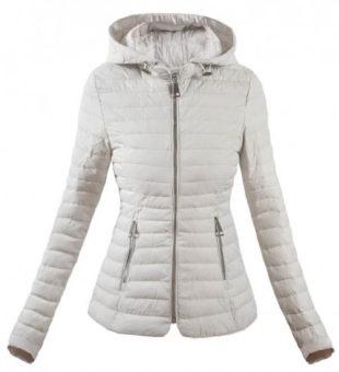 Bílá prošívaná dámská zimní bunda do pasu b456a70a9fb