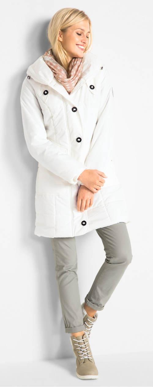 Bílý prošívaný dámský zimní kabát