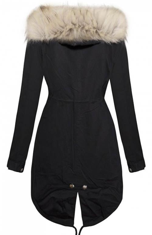 Černá prodloužená bunda s béžovým kožíškem