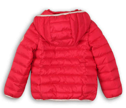 Červená dětská prošívaná zimní bunda  s velkou kapucí