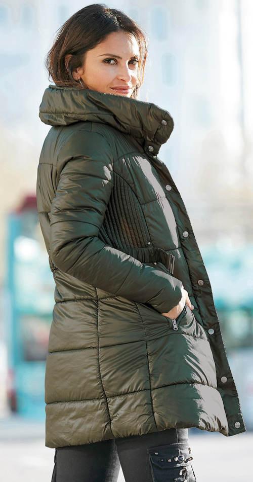 Dámský khaki prošívaný zimní kabát