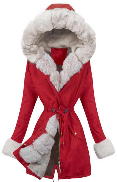 Delší červená dámská zímní bunda se stahovací šňůrkou