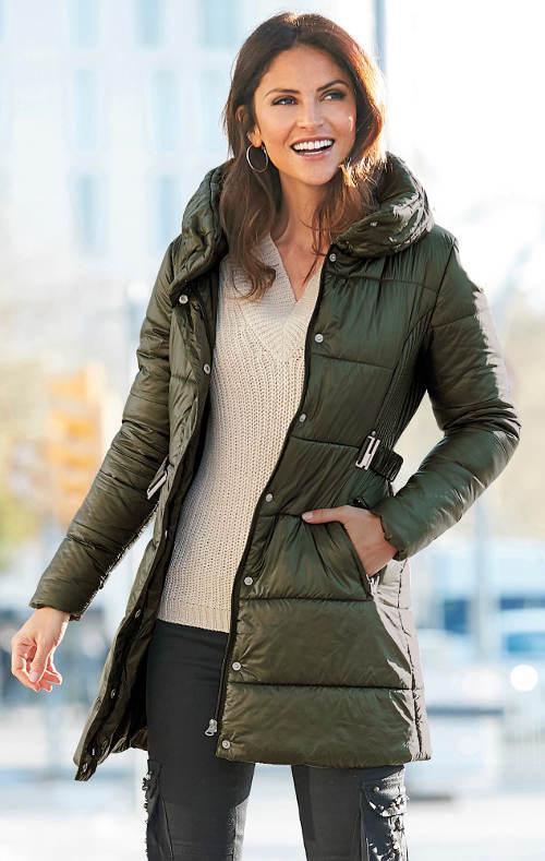 Khaki bunda vhodná pro těhotné
