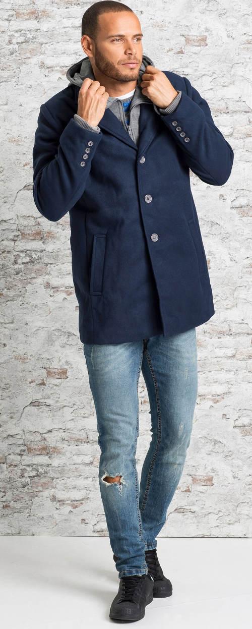 Krátký tmavě modrý pánský kabát