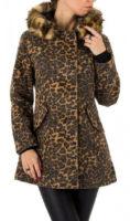 Leopardí dámský kabát s kožešinou