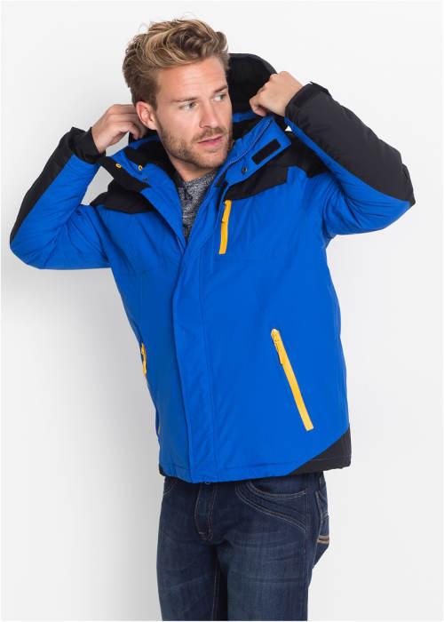Pánská zimní bunda zářivě modré barvy