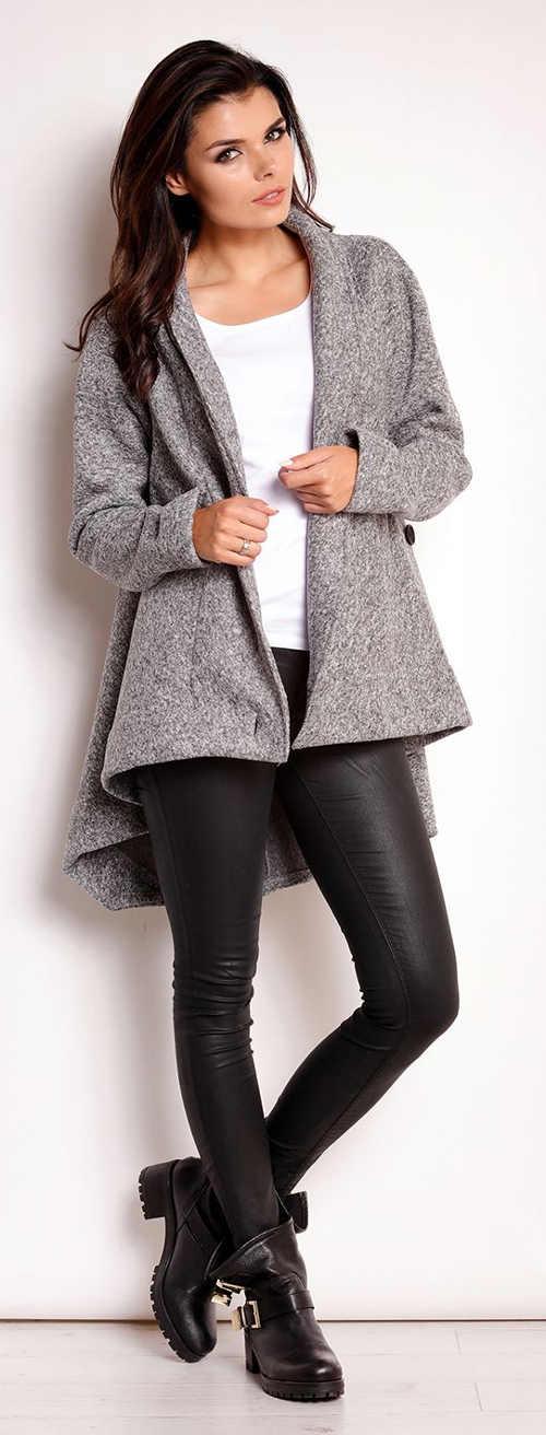 Podzimní dámský asymetrický kabát