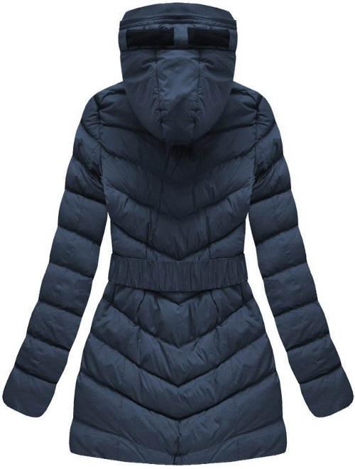 Prodloužená prošívaná tmavě modrá zimní bunda