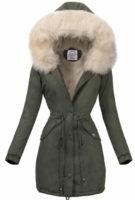 Prodloužená zimní bunda khaki barvy s béžovým kožíškem