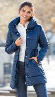 Prošívaný dámský kabát parka pro plnoštíhlé