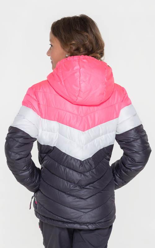 Růžovo-šedá dívčí prošívaná bunda