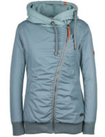 Šedo-modrá dámská zimní bunda s asymetrickým zipem