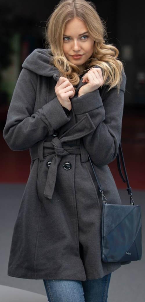 Šedý dámský zimní kabát výprodej