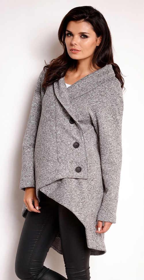 Světle šedý podzimní dámský kabát zavinovacího střihu
