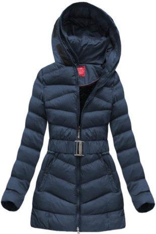 Tmavě modrá dámská zimní prošívaná bunda s páskem